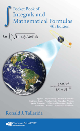Pocket Book of Integrals and Mathematical Formulas 4th Edition By Ronald J. Tallarida