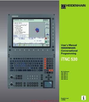users manual heidenhain conversational programming itnc 530 rh technicalbookspdf com Heidenhain Encoder HEIDENHAIN CNC Controls