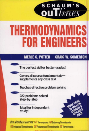 Schaums Outline of Thermodynamics for Engineers by Merle C Potter Craig W Somerton
