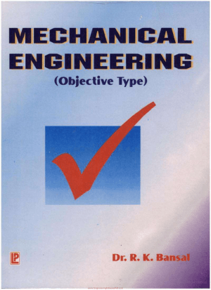 Objective Type Questions In Mechanical Engineering By Dr. R. K. Bansal