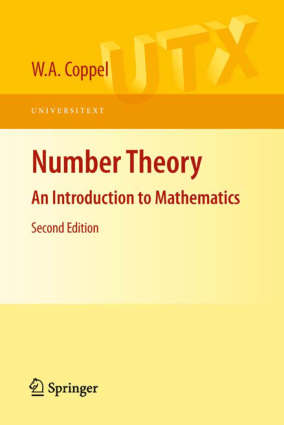 Number Theory An Introduction to Mathematics Second Edition By W.A. Coppel