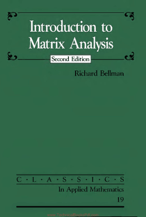 Introduction to Matrix Analysis Second Edition By Richard Bellman