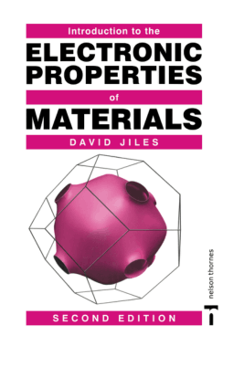 Introduction to the Electronic Properties of Materials Second Edition by David Jiles