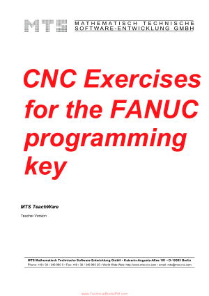CNC Exercises for the FANUC programming key MTS TeachWare Teacher Version