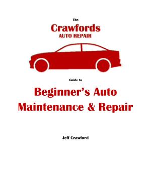 Crawford Auto Repair Guide Beginners Auto Maintenance and Repair by Jeff Crawford