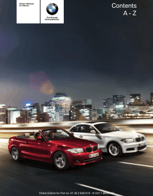 BMW 135i Convertible 2012 Owner's Manual