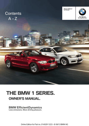 BMW 135i Convertible 2013 Owner's Manual