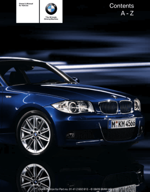 BMW 135i Convertible without iDrive 2010 Owner's Manual