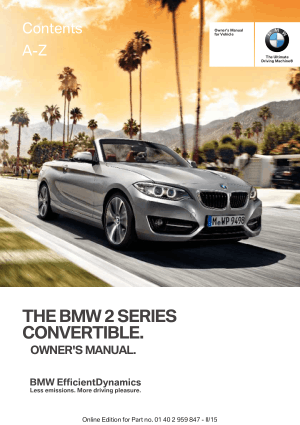 BMW 228i Convertible 2016 Owner's Manual