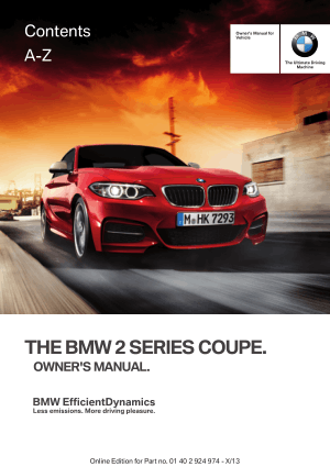 BMW 228i Coupe 2014 Owners Manual