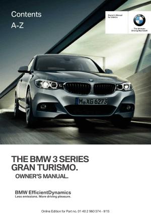 BMW 3 Series Gran Turismo 2015 Owner's Manual