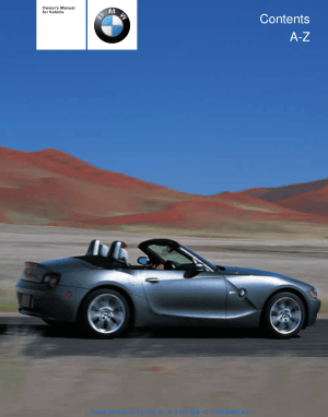 BMW 3.0i Roadster and Coupe 2004 Owners Manual
