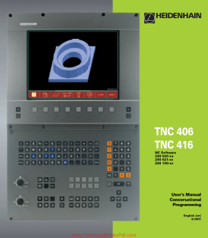 TNC 406, TNC 416 Users Manual Conversational Programming