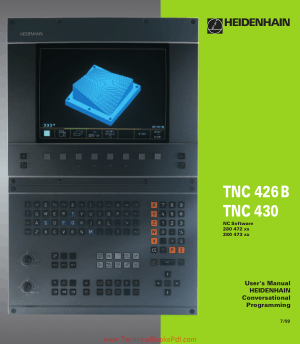 TNC 426B, TNC 430 Users Manual HEIDENHAIN Conversational Programming