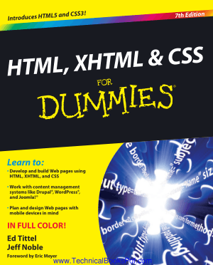 HTML, XHTML and CSS for Dmmies 7th Edition